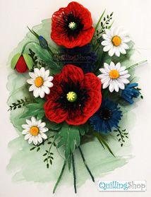 Квиллинг QuillingShop.ru Картина в технике квиллинг Маковый букет из бумаги для квиллинга