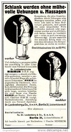 Original-Werbung/ Anzeige 1927 - SCHLANK OHNE UEBUNGEN / DR. LOEBENBERG'SCHES MINIMUM - ca. 65 X 120 mm
