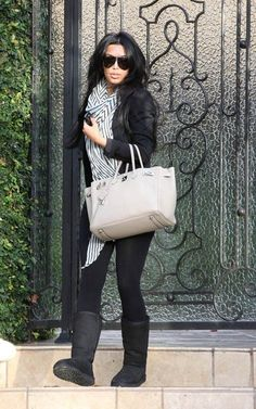 Casual cold weather Kim Kardashian style outfit. australiauggshoes.org UGG Bailey Button Triplet 1873 Grey For Sale In UGG Outlet - $119 Save more than $100, Free Shipping,