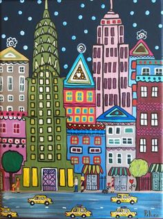 new york taxis New York Painting, City Painting, New York Drawing, Arte Elemental, Cityscape Art, Easy Art Projects, New York Art, Naive Art, City Art