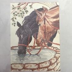 Vintage Bernat Counted Cross Stitch Kit Day's End Horses At Trough    eBay