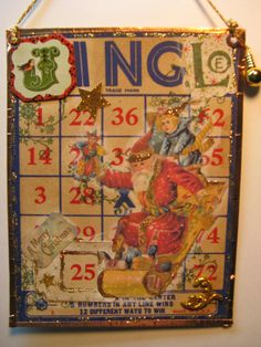 """Christmas Jingle"" Altered Bingo Card - love this! Christmas Bingo Cards, Christmas Shadow Boxes, Christmas Jingles, Christmas Scrapbook, Christmas Tag, Xmas Cards, Christmas Ideas, Christmas Ornaments, Book Crafts"