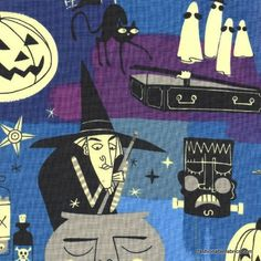 Hocus Pocus on blue from Haunted House Collection by Alexander Henry Fabrics halloween cotton novelty fabric of witches, vampires, jack-o-lanterns Alexander Henry Fabrics, Halloween Fabric, Novelty Fabric, Fabulous Fabrics, Hocus Pocus, Textiles, Kids Rugs, Embroidery, Blue