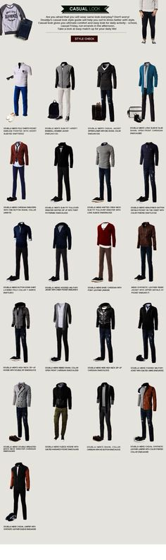 Who doesn't love infographics that make casual outfit coordination into a pro bono side job? (because of course time grows on trees) Source by casual outfits Mode Outfits, Casual Outfits, Fashion Outfits, Fashion Tips, Fashion Clothes, Nail Fashion, Dress Casual, Mens Fashion Shoes, Fashion Trends