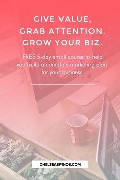 FREE 5-day email course to help you create a marketing plan that will grow your business or blog. Learn how to develop clear business goals, an entrepreneur mindset, leveraging social media marketing, and increasing your visibility and profits.