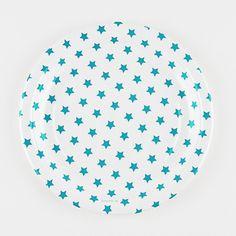 8 assiettes en carton étoiles bleues