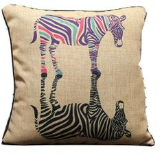 Black Zebra's Dream Throw Pillow Case Decor Cushion Covers Square 18*18 Inch Beige Cotton Blend Linen Leaveland,http://www.amazon.com/dp/B00HMY846Y/ref=cm_sw_r_pi_dp_.8Hntb0MDKDRMNNT