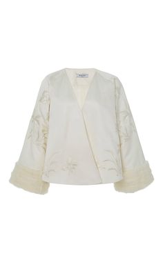 The Nymphaea Embroidered Fur Cuff Jacket by MAREI 1998 for Preorder on Moda Operandi