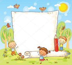 Buy Cartoon Frame With Three Kids Outdoors by katya_dav on GraphicRiver. cartoon frame with three kids outdoors, vector Powerpoint Background Design, Kids Background, Vector Background, School Frame, Borders And Frames, Three Kids, Cartoon Kids, Clipart, Classroom Decor