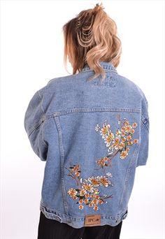 79329da80ff Flowers+ +Flamingo+Denim+Jacket+JGD012 Women s Jackets