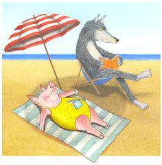 Reading, sun and sand … between friends? / Lectura, sol y playa…entre amigos? (ilustración de Nancy Armo)