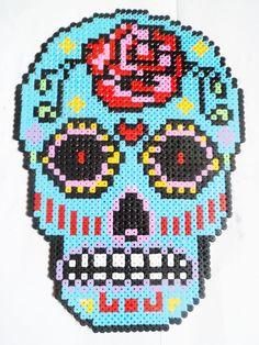 Beaded Sugar Skull Day of the Dead hama perler flat bead INSPIRATION no pattern