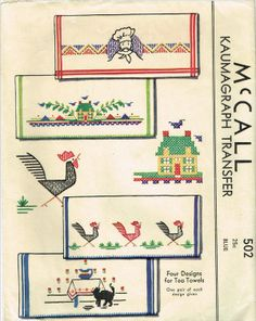 1930s Hard to Find Chef Tea Towels Uncut McCall Embroidery Transfer