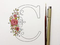 Floral Drop Cap by Kelsey Phillips