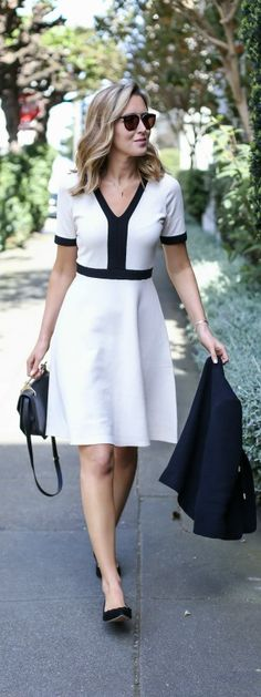 black and white classic knit fit and flare dress, black tie neck jacket, scalloped ballet flats, black handbag + sunglasses {boden, m2malletier, wonderland}