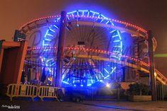 Santa Monica Pier Ferris Wheel at night.