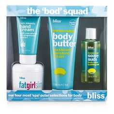 Bliss The Bod Squad Set: Body Butter 200ml + Soapy Suds 120ml + Fat Girl Slim 170.5g + Hand Cream 75ml 4pcs