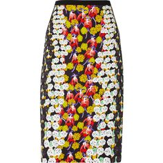 Peter Pilotto Erin printed crepe skirt ($378) ❤ liked on Polyvore featuring skirts, gold, button skirt, below the knee skirts, multi colored skirt, multicolor skirt and colorful skirts