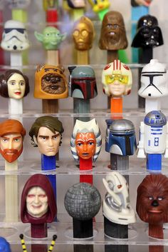 1/27/11.  Star Wars PEZ dispensers (including the newer Clone Wars dispensers).  On display at the Burlingame Museum of PEZ Memorabilia (Burlingame, CA).