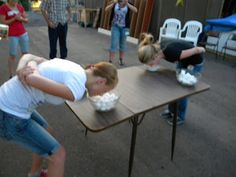 """""""Nose Dive"""" I think this was the most funniest challenge! The contestants are to dip their nose in a bowl of vaseline. They then stick their head into a bowl of cotton balls, get a cotton ball to stick and then run to a different bowl to place that cotton ball into all without using their hands."""