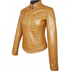 Women's Tab Collar Soft Tan Biker Leather Jacket