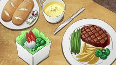 Fetta di carne ai ferri con contorno, insalata, pane e salse