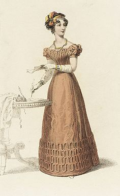 Ackermann's Repository, Evening Dress, December 1825. I really like the unusual color of this gown, and her sleeve caps are adorable!