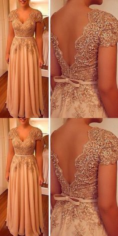 Charming Prom Dress, A Line Party Dress V Neck Evening Dress, Beaded Women Formal Dress Appliques P on Luulla Dresses Elegant, Formal Dresses For Women, Beautiful Dresses, Nice Dresses, Dress Formal, Long Prom Gowns, Evening Dresses, Prom Dresses, Formal Evening Gowns