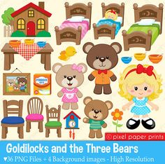 Goldilocks & The Three Bears Clipart and by pixelpaperprints