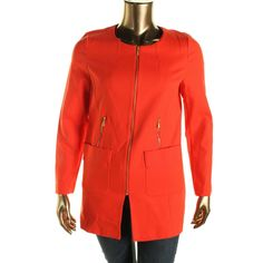 Laundry by Shelli Segal Womens Collarless Outerwear Jacket
