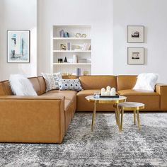 Leather Couch Sectional, Brown Sectional, Living Room Sectional, Tan Sofa Living Room Ideas, Leather Sectional Sofas, Brown Sofa, Living Room Update, Home Living Room, Vegan Leather