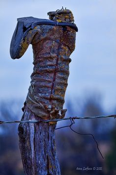 Kansas Countryside..ol boots on fence posts for miles..