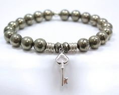 Tiffany Jazelle bracelet made with Pyrite - The stone of good luck, power and protection! With the Key to Life charm - throughout life, we are faced with obstacles and hardships. When one door closes, another always opens!