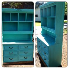 Transformed An Old Childs Bedroom Dresser With Bookshelf Into Eye Popping Dining Room Hutch Painted In A Teal Handmade Chalk Paint Dirtied Up