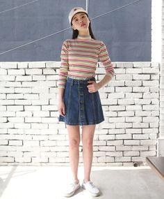 10's trendy style maker 66girls.us! Buttoned Seam Accent Denim Skirt (DGSZ) #66girls #kstyle #kfashion #koreanfashion #girlsfashion #teenagegirls #fashionablegirls #dailyoutfit #trendylook #globalshopping
