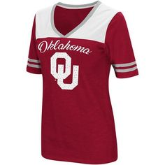 Colosseum Athletics Women's University of Oklahoma Twist 2.1 V-Neck T-shirt (Red Medium, Size Small) - NCAA Licensed Product, NCAA Women's at Acade...