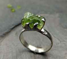 Raw Rough Peridot Cocktaiil Ring Rustic Sterling by byAngeline, $175.00