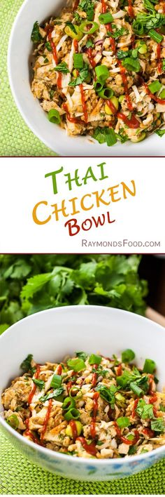 Thai Chicken Bowl. High protein meal prep on the go quick easy