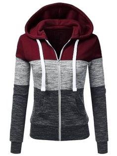 Women's Casual Long Sleeve Thin Zip Contrast Hoodie - All About Hoodie Sweatshirts, Long Hoodie, Hoodie Jacket, Fleece Hoodie, Pullover Hoodie, Ladies Hooded Jacket, Denim Jacke, Casual Fall, Women's Casual