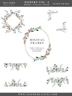 Watercolor Leaf Wreath Clipart, Greenery Leaves, Watercolor Wedding Invitation, Winter Clipart, Rustic Vintage Modern Floral Frame & Borders, Watercolor Leaf Logo, Greenery clipart, Romantic, elegant, fall, autumn, winter wedding invitations, DIY stationery Commercial Use without