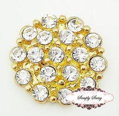 RD130 Gold Rhinestone Flat Back Embellishment Buttons