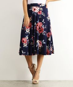 Look what I found on #zulily! Navy & Pink Floral Midi Skirt #zulilyfinds