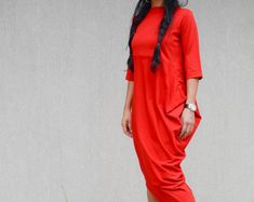 Asymmetrical Red Dress with Raglan Sleeves, Long Loose Everyday Dress, Oversize Garden Party Dress, Urban Style Comfortable Dress, Plus Size Hoodie Allen, Urban Fashion, High Fashion, Fashion 2018, Street Fashion, Womens Fashion, Bridesmaid Skirts, Wedding Dresses, Women's Dresses