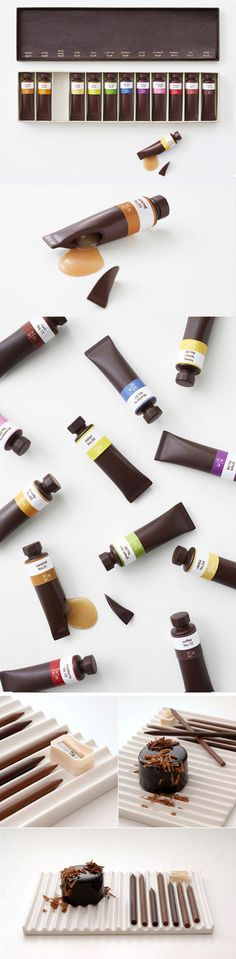 Funny pictures about Edible Chocolate Art Supplies. Oh, and cool pics about Edible Chocolate Art Supplies. Also, Edible Chocolate Art Supplies photos. Cute Packaging, Food Packaging, Packaging Design, Packaging Ideas, Food Design, Paint Tubes, Artist Supplies, Paint Supplies, Chocolate Packaging