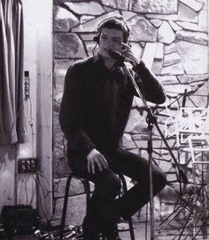 """Ian Curtis in the studio recording """"Love Will Tear Us Apart"""", January 8th, 1980."""
