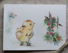 Baby Chick with red clover watercolor painted by SunsetPeonies