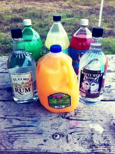 Easy Jungle Juice, A Party Hit!  INGREDIENTS: Mix: -1 gallon white rum (any brand), 1 gallon vodka (any brand), 1 liter orange soda, 1 liter Sprite, 1 liter fruit punch, and 1 liter of pink lemonade! And put it in a big cooler with a huge ladle for scooping.