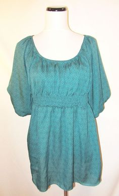 Odille Anthropologie size 8 Blouse Top Teal Geometric Smocking Peasant Bohemian #odille #Blouse #Casual