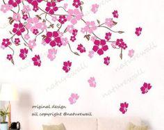 Flor con tatuajes de mariposa flor pared por walldecals001 en Etsy
