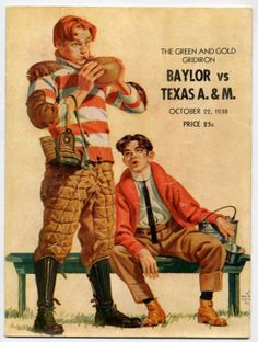 1938 Game Program of Baylor versus Texas A&M in Waco - Oct 22, 1938.